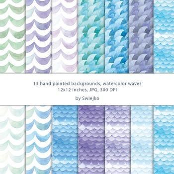 Watercolor Digital Paper, Watercolor Pattern, Sea, Ocean W