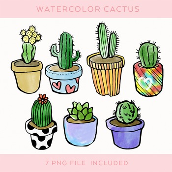 Watercolor Doodled Cactus Set