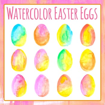 Watercolor Easter Eggs Hand Painted Commercial Use Clip Art Set