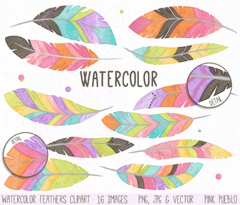 Watercolor Feather Clipart Clip Art, Tribal Feather Clip A