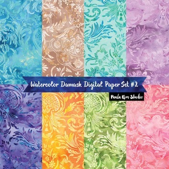 Watercolor Floral Damask Digital Paper Volume 2