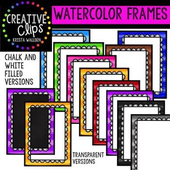 Watercolor Frames {Creative Clips Digital Clipart}