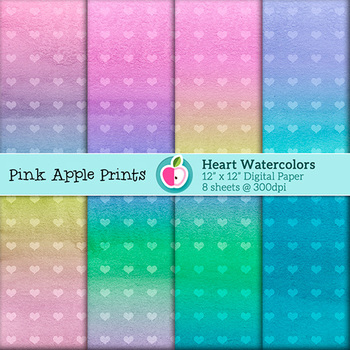 Watercolor Heart Style Digital Paper Texture Set - Graphic