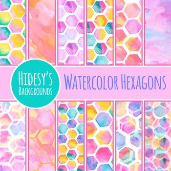 Watercolor Hexagon Backgrounds / Patterns / Digital Paper