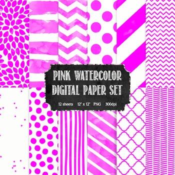 Watercolor Hot Pink + White Modern Patterns Digital Paper Set