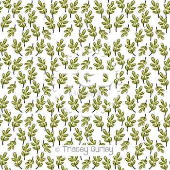 Watercolor Leaf Pattern on White digital paper Printable T