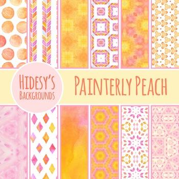 Watercolor Painting Peach / Pink / Orange Backgrounds / Di