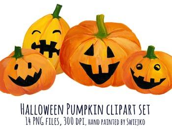 Watercolor Pumpkin Halloween Clipart, Digital Watercolour,