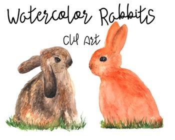 Watercolor Rabbits - Clip Art