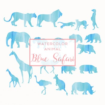 Watercolor Safari Animals Silhouettes Clip Art - Blue