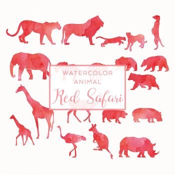 Watercolor Safari Animals Silhouettes Clip Art - Red
