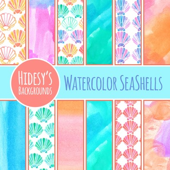 Watercolor Seashells / Sea Shells Backgrounds / Digital Pa