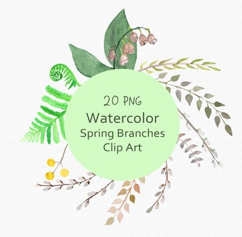 Watercolor Spring Branches Clip Art