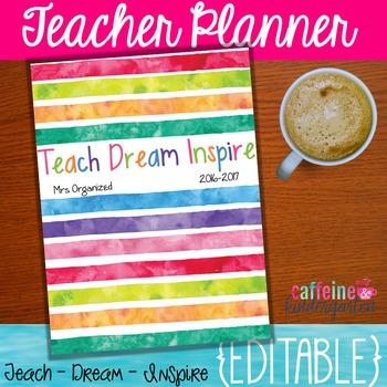 Watercolor Teacher Binder - Yearly Updates - Editable Binder