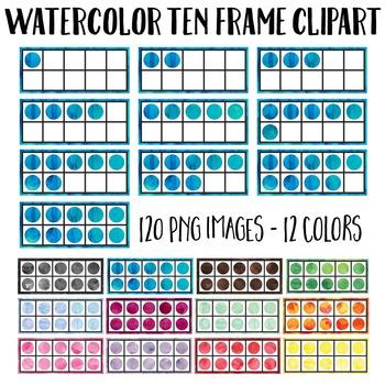 Watercolor Ten Frame Clip Art