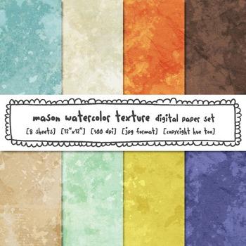 Watercolor Texture Digital Paper, Orange, Blue, Lime Green