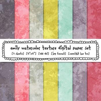 Watercolor Texture Digital Paper, Pink, Gray, Aqua, Blue,