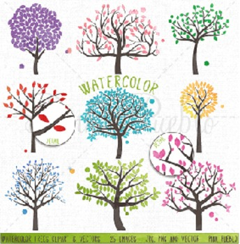 Watercolor Tree Silhouettes Clipart Clip Art, Family Tree