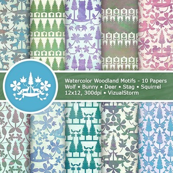 Watercolor Woodland Animals Digital Paper - 10 Forrest Ani