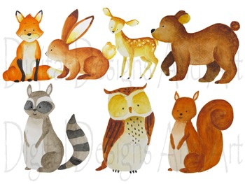 Watercolor forest animals clipart, Woodland Animal clipart