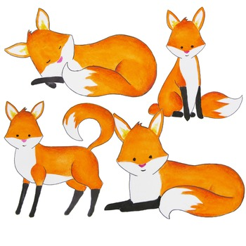 Watercolor fox clipart, foxes clipart, Red fox clip art