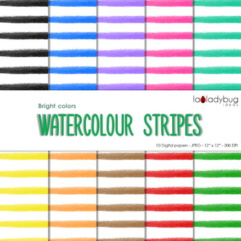 Watercolor stripes digital papers. Bright colors. Backgrounds.