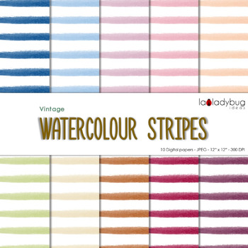 Watercolor stripes digital papers. Bright colors. Wallpape