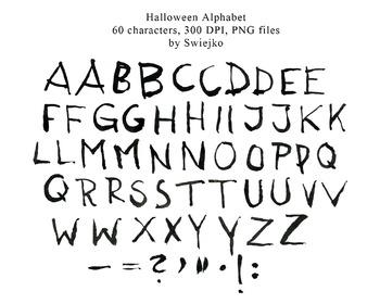 Watercolour Alphabet Clipart, Halloween, Letters, Scarry,