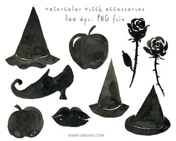 Watercolour Clipart, Halloween Clipart, Scarry Witch, Digi