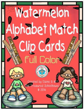 Alphabet ABC Match Clip Cards - Watermelon in Full Color