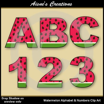 Watermelon Alphabet & Numbers Clip Art Set