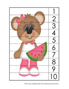 Watermelon Bears Summer Number Counting Strip Puzzles - 5 Designs