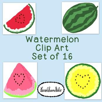 Watermelon Clip Art Bundle Summer PNG JPG Blackline Commer