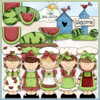 Watermelon Cuties Clip Art - Girls Clip Art - CU Clip Art & B&W