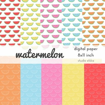 Watermelon Digital Paper - Studio ELSKA