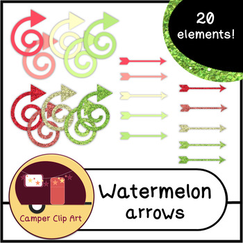 Watermelon Glitter and Solid Colors ARROWS {CU - ok!} Pink