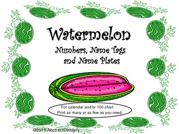 Watermelon Numbers, Name Plates and Name Tag