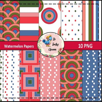 Watermelon Papers (Digital Papers for Commercial Use)