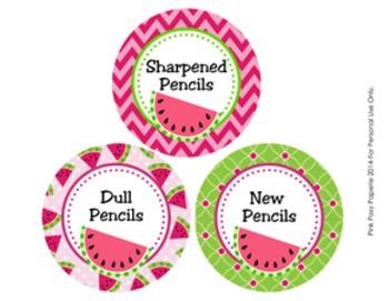 Watermelon Pencil Caddy Labels