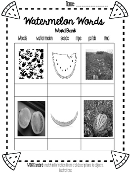 Watermelon Picture Match and Sentence Writing