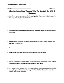 Watsons Go to Birmingham Guided Reading (Entire Novel) with Key