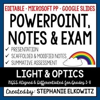 Light and Optics PowerPoint, Notes & Exam (Differentiated