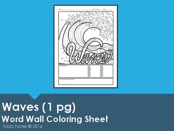 Waves Word Wall Coloring Sheet