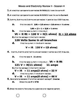 Waves and Electricity Review II - Answers
