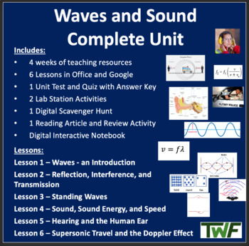 Waves and Sound Complete Unit - PowerPoint Lessons,Workshe
