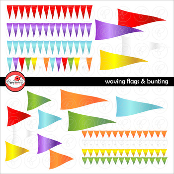 Waving Flags & Bunting Digital Labels and Borders Clipart