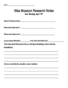 Wax Museum Research Notes