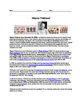 Wayne Thiebaud Worksheet