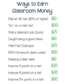 Ways To Earn Classroom Money Poster