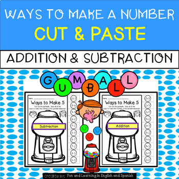 Ways To Make Numbers 1-20:  Addition & Subtraction - Cut &